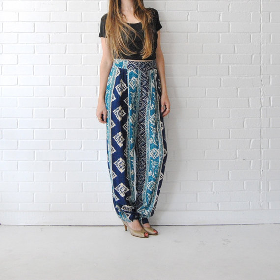 High Waist Tribal Batik Print Pants // Blue Hippie Boho Wide Leg ...