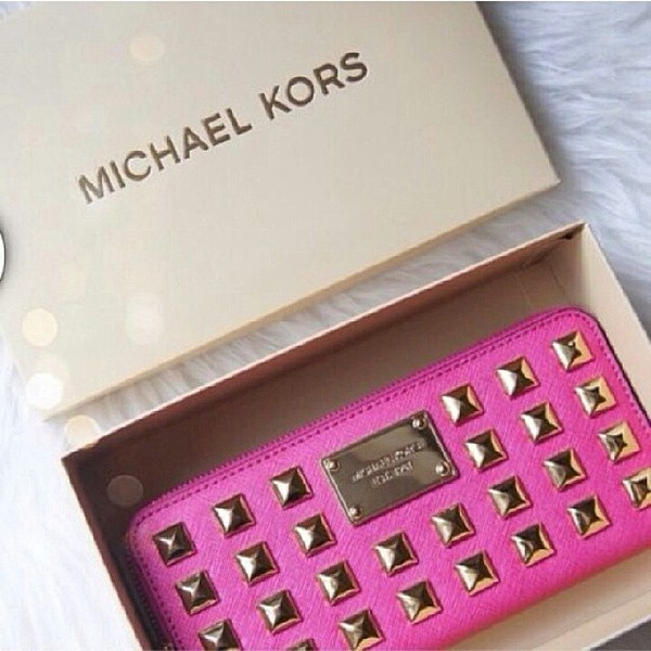 bag michael kors pink gold studs studded clutch