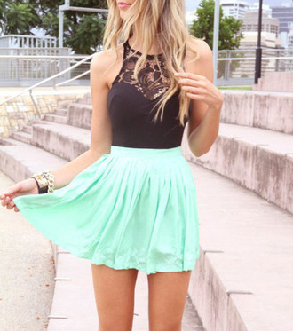 dress black & green sleeveless spliced lace chiffon dress