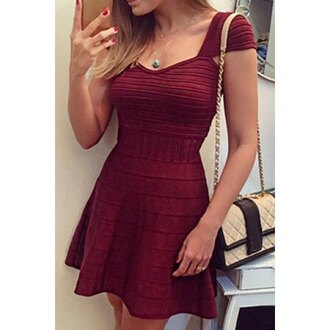 dress cute dressy burgundy girly sweet style sweetheart neck cap sleeve wine red a-line dress for women sexy feminine summer trendy red maxi dress handbag purse