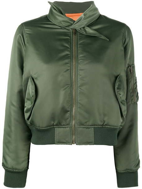 Balenciaga cropped women green jacket