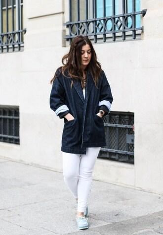 elodie in paris blogger jacket top jeans shoes jewels
