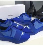 shoes,balenciaga,balenciagarunners,blue,electric blue