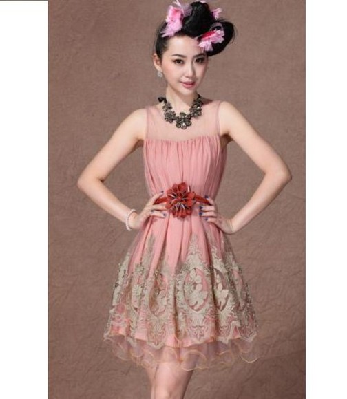 dress embroidered pink gold embroidery dress top dress lace pink dress embroidery