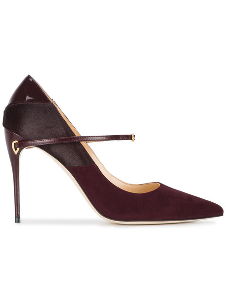 Jennifer Chamandi fur women heels leather suede burgundy red shoes