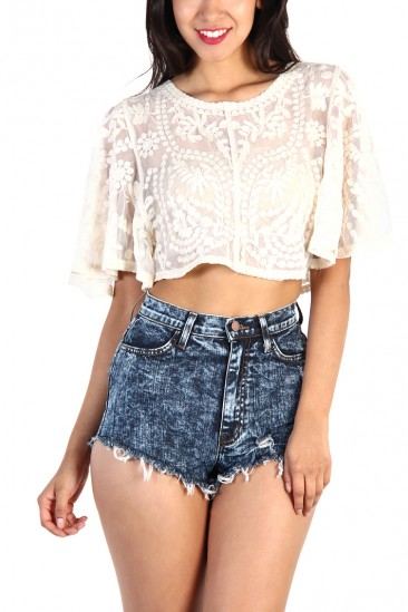 LoveMelrose.com From Harry & Molly | Leaf Lace Crop Top - Ivory
