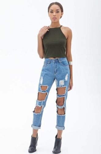 jeans girl high waisted jeans ripped jeans boyfriend jeans t-shirt top