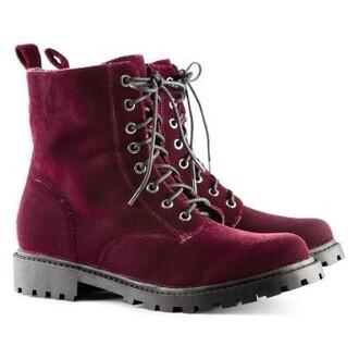 shoes botas boots velvet martens dr red granate wine