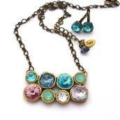 jewels,siggy jewelry,pendant,cluster pendant,multi stone,blue,purple,aqua,denim,mauve,sparkle,opal,mint,necklace,style,fashion,trendy,swag,statement necklace,gift ideas,etsy,shopping,beauty fashion shopping