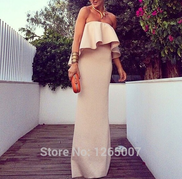 Aliexpress.com : Buy 2014 Gorgeous Strapless Ruffles Column Straight Nude Fashion Evening Dresses Formal Dress Special Occasion Dress For Women from Reliable dresses maxi suppliers on SFBridal