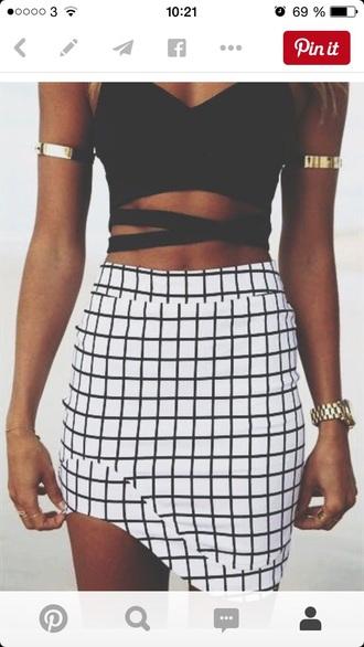 dress black top black and white skirt shirt