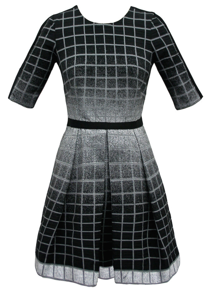 Yoana Baraschi Pixel Plaid Pleated Dress