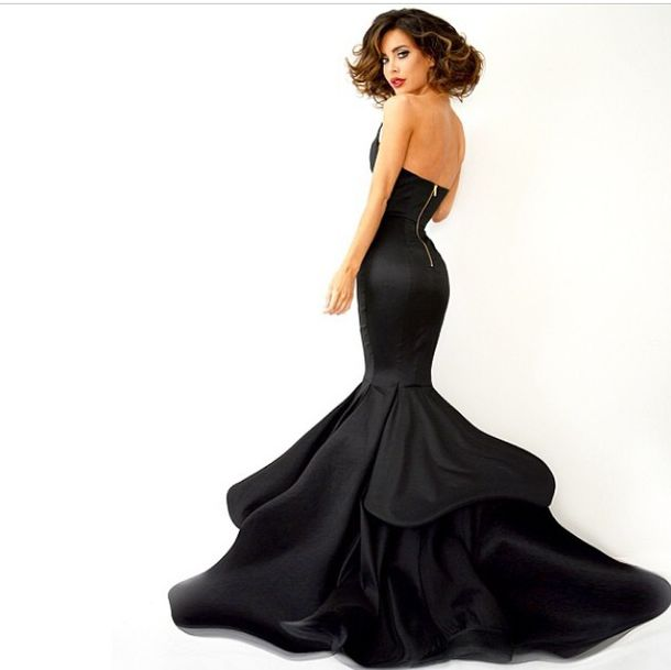 Dress Evening Dress Black Long Dress Gown Fish Tail