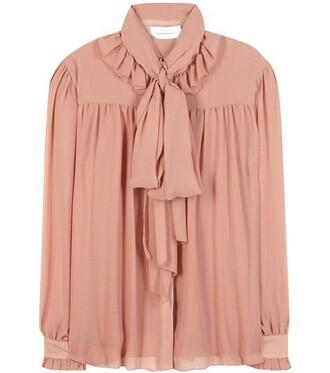 blouse chiffon pink top