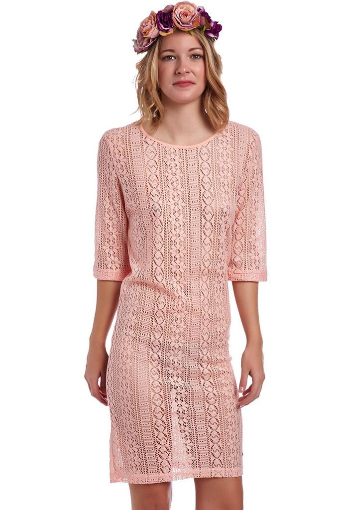 Q2 Coral Crochet Lace Shift Dress