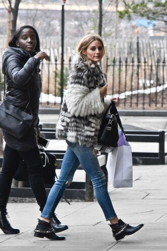shoes denim jeans olivia palermo coat fur fur coat