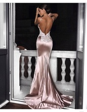 dress,satin,wedding dress,lace,long dress,evening dress,rose gold,pink,beige,lace dress