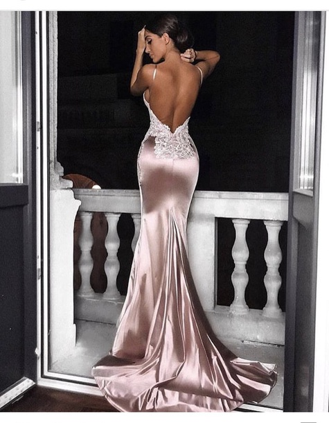 dress satin wedding dress lace long dress evening dress rose gold pink beige lace dress