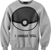 grey sweater,pokemon,sweater,clothes,grey,jumper,ash,pikachu,crewneck,pokeball,anime,hipster,swag,white,funny sweater,pokemon sweater