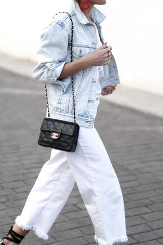 b a r t a b a c blogger jacket jeans shoes t-shirt bag denim jacket chanel bag white jeans