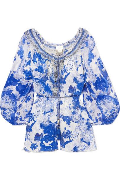 embellished blue silk romper
