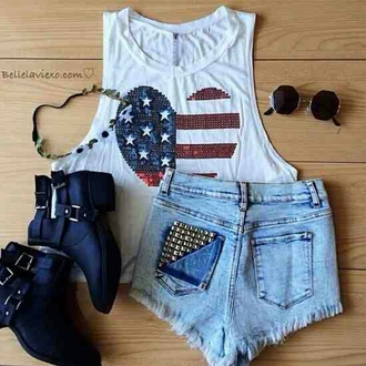 shirt tank top red white and blue fashion heart tank top