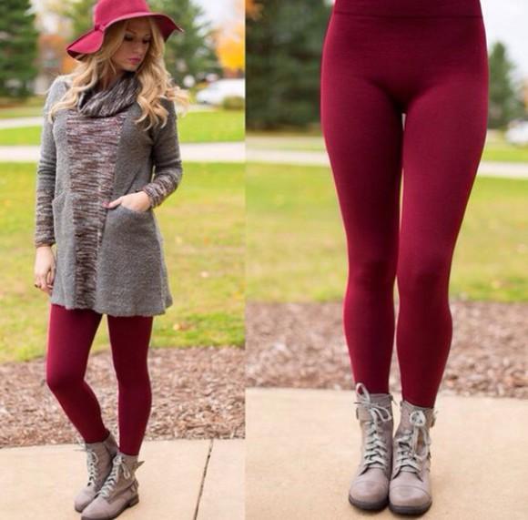 leggings winter outfits burgundy
