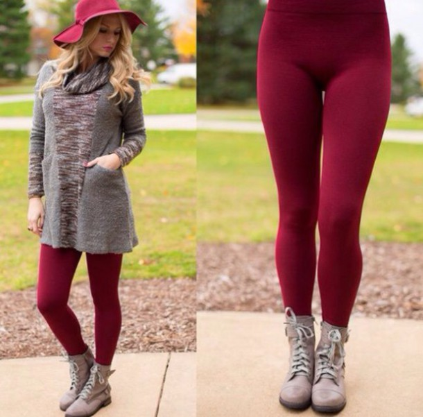 burgundy leggings winter outfits