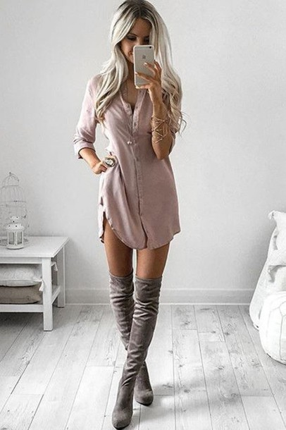 Dress: sleeves, love, cute, summer, button up, blush pink, shirt ...