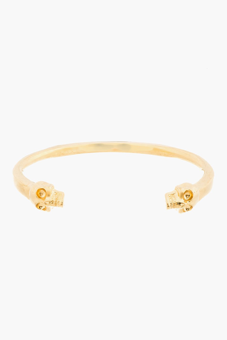 alexander mcqueen gold twin skull bangle