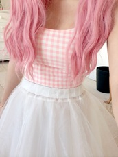 dress,top,pastel,pink,plaid,pretty,girly,kawaii,cute,gingham,skirt,shirt,pink and white,white