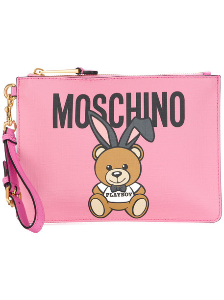 Moschino bear women clutch leather purple pink bag