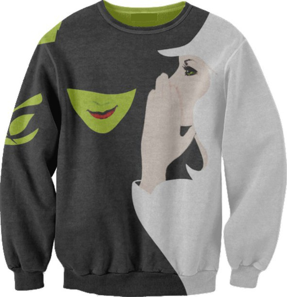 sweater wicked jumper musicals songs shows cardigan broadway elphaba glinda west end off-broadway green sweater white sweater idina menzel kristin chenoweth hoodie