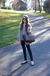 southern curls and pearls,blogger,bag,make-up,sunglasses,faux fur vest,ballet flats,stripes,top,jacket,jewels,grey fur vest
