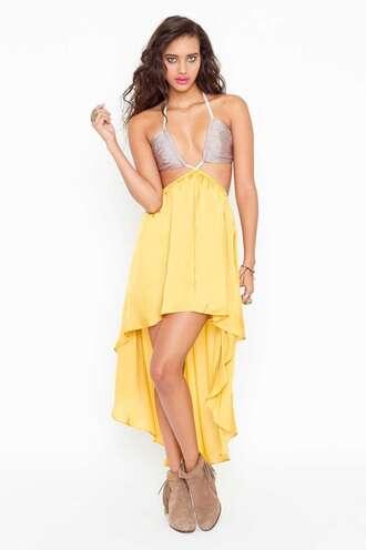 dress yellow mustard silver backless dress maxi dress open back amazing sexy formal dress orange dress cut-out