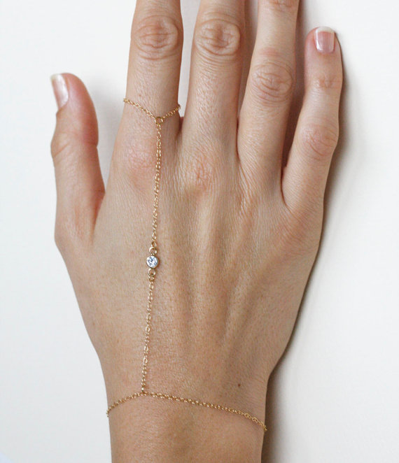 Finger Bracelet Gold Slave Bracelet with CZ Diamond door MinimalVS