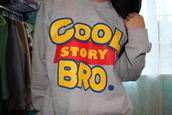 toy story,sweater,cool story bro,top,grey,clothes,crewneck,grey sweater,cool story bro crewneck