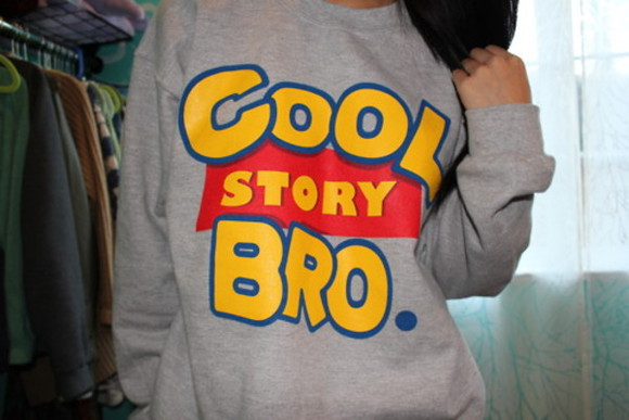 toy story cool story bro sweater grey clothes crewneck