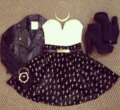skirt,clothes,crosses,shoes,belt,jewels,bustier,cute,outfit,dress,polka dots,necklace,little black dress,high heels,leather jacket,black,white,top,tube top,sweetheart