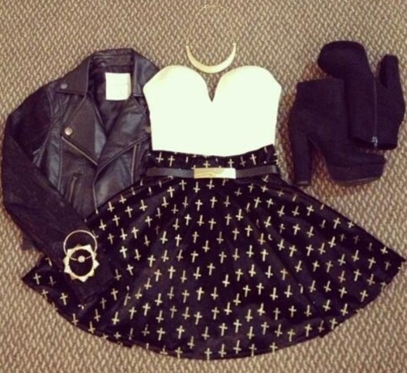 top tube top sweetheart clothes shoes jewels Belt skirt cross dress polka dots necklace little black dress ariana grande black white high heels leather jacket