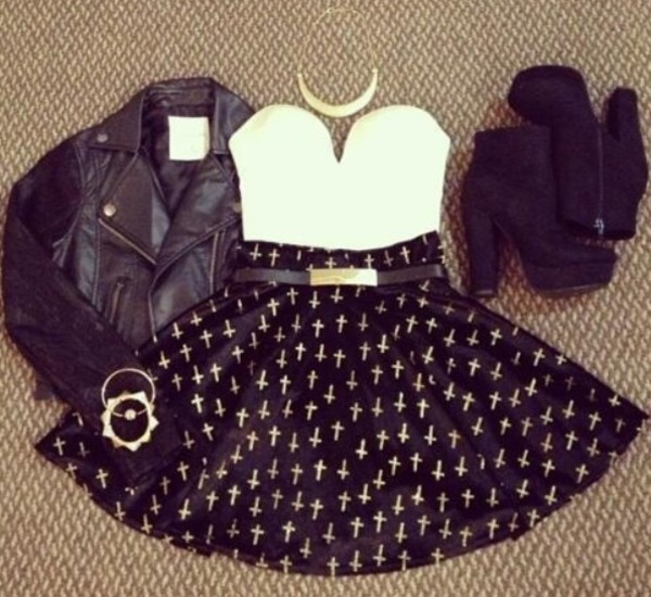 skirt clothes crosses shoes belt jewels bustier cute outfit dress polka dots necklace little black dress high heels leather jacket black white top tube top sweetheart