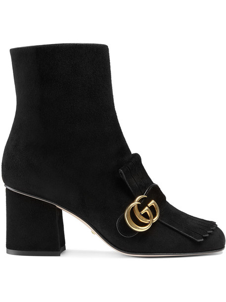 gucci suede ankle boots metal women ankle boots leather suede black shoes