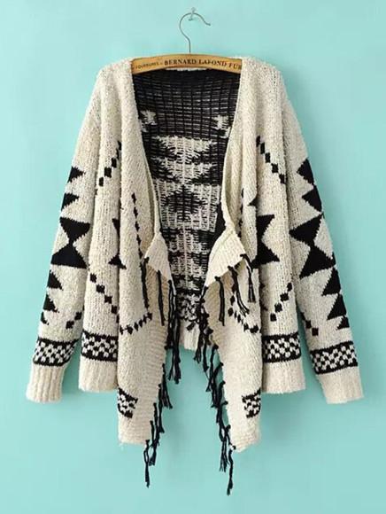 kimono sweater geometric pattern contrast tassel knitwear