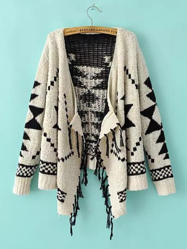 geometric tassel knitwear sweater kimono cardigan