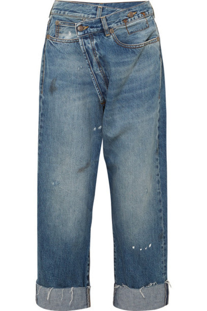 R13 - Crossover Asymmetric Distressed High-rise Wide-leg Jeans - Mid denim