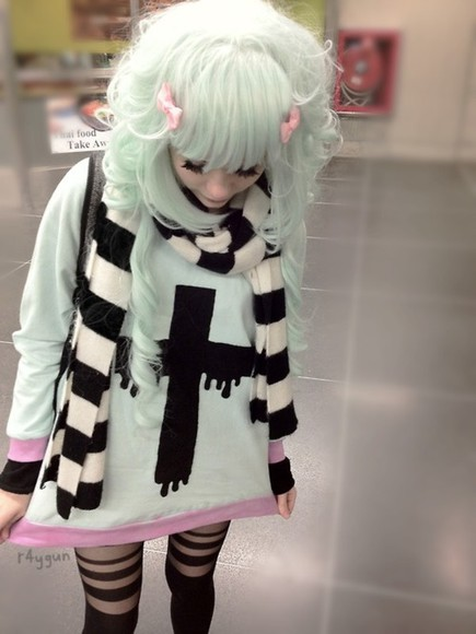 pink black pastel scarf cross pastel goth striped cross sweater black and white striped knitted scarfs sweater pastel grunge kawaii kei mint leggings