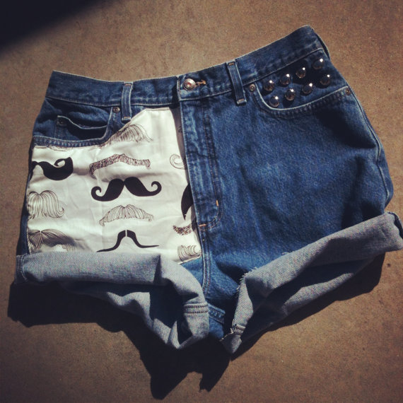 Mustache one of a kind studded high waist hipster by NUgeneration