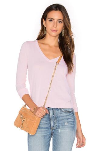 vintage long v neck pink top