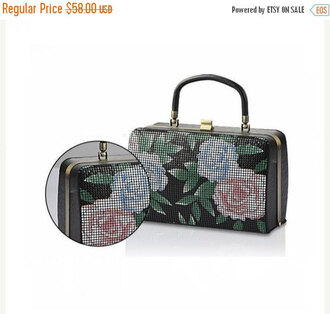 bag bags for women handbag print flowers flowy floral clutch party black casual