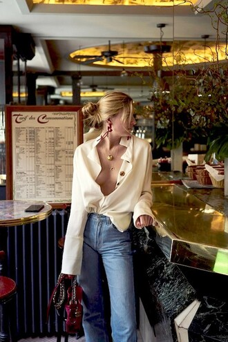 le fashion image blogger jewels blouse jeans top red bag chanel beige summer outfits